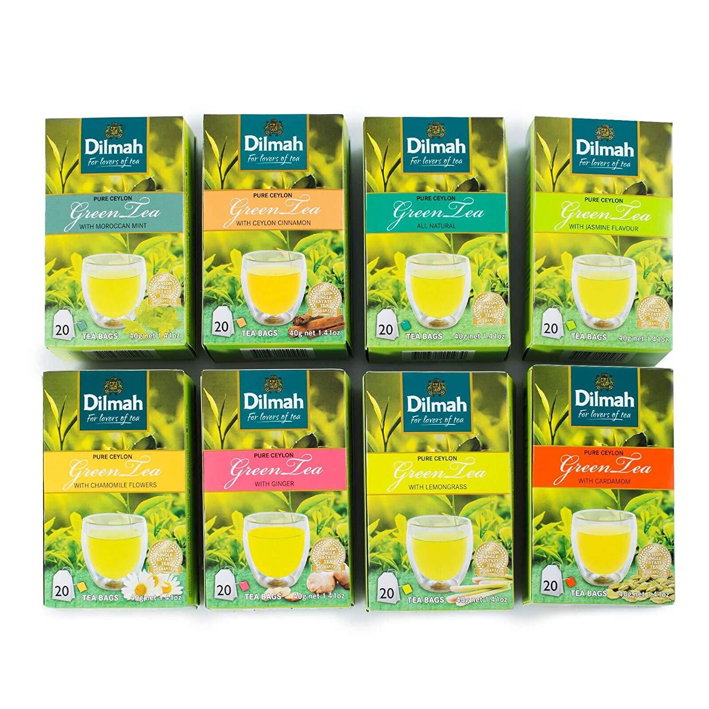 Dilmah Flavored Green Tea Ceylon 20 Tea Bags - Moroccan Mint,Camomile Tea, Pure Green Tea, Cardamom, Cinnamon, Ginger, Jasmine, Green Tea With Lemongrass - (All 8 Flavors)