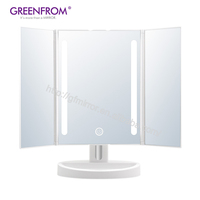 2019 Led Makeup Magnifying Square Led Vanity Mirror Tri Fold Mirror
