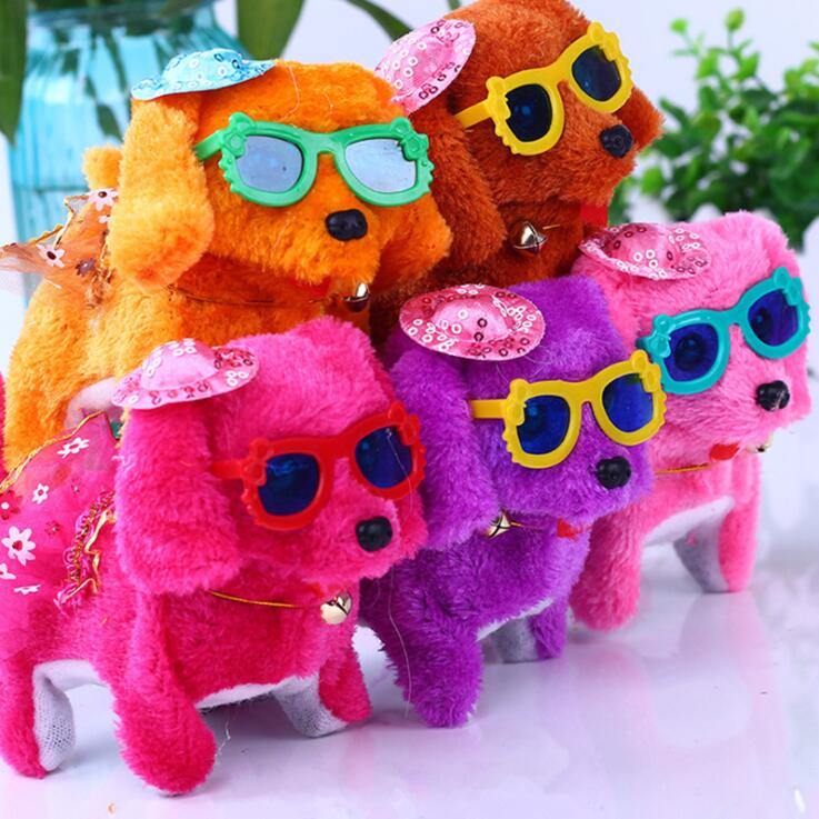 Cheap Custom <strong>Plush</strong> Stuffed Different Colors Electronic Cool Walking Dog Toy with Sunglasses