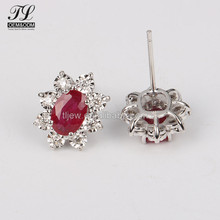 China fashion new model stud big oval red stone earrings silver 925