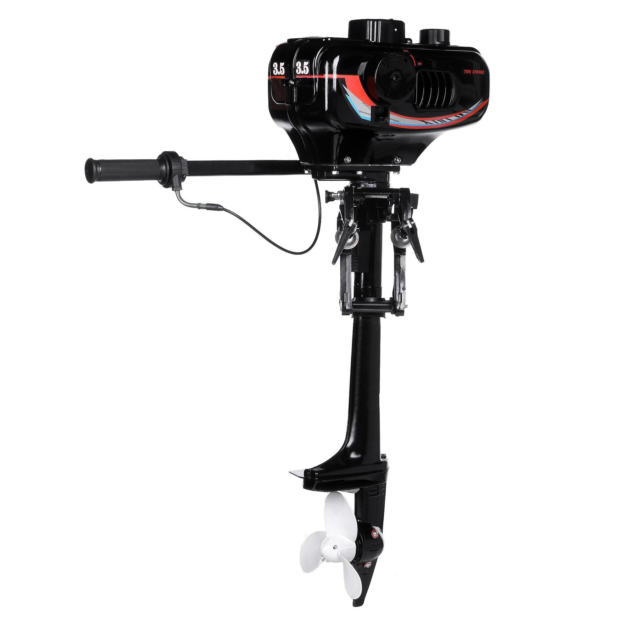 ETUOJI New 3.5HP Outboard Trolling Motor Boat Engine with 2-Stroke Water Cooled System Black Speed-20km/h [US STOCK]