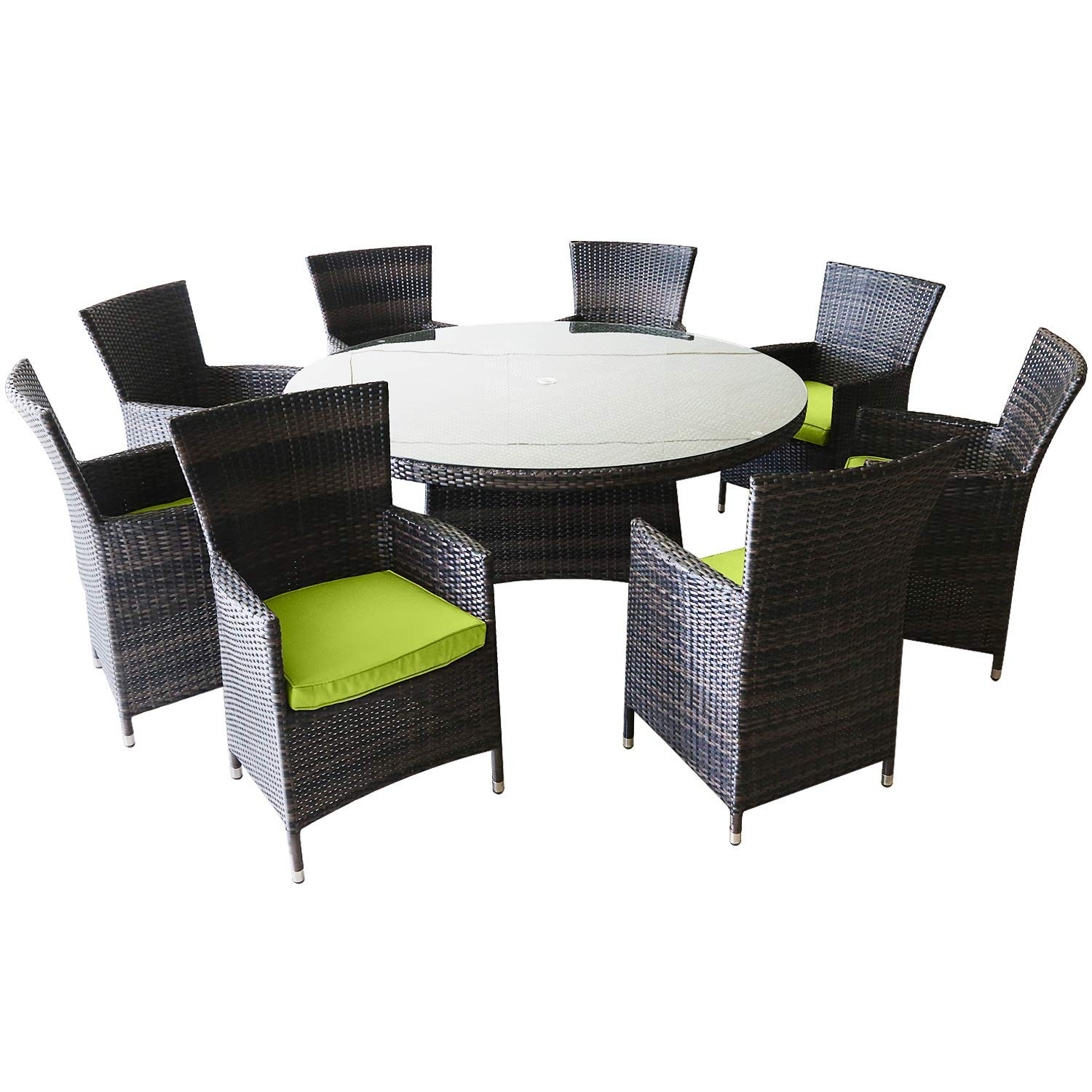 Patioption 9 Pieces (8 Seats) Outdoor Patio Furniture Dining Table Sets, All-Weather Rattan Chairs with Washable Green Cushions and Wicker Round Tempered Glass Table, Patio Conversation Sets (Green)