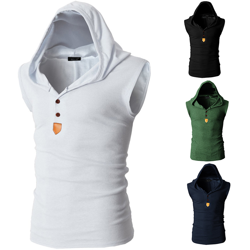 men sleeveless gym hoodie