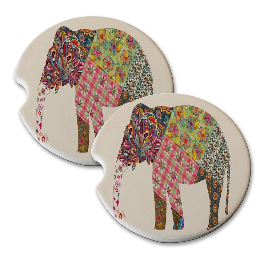 African Elephant Pattern - Absorbant Sandstone Car Drink Coaster Set (Set of 2 car Coasters)