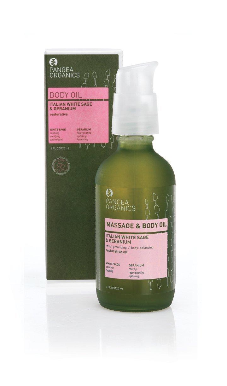 Pangea Organics Body Oil   Italian White Sage and Geranium  Body Massage Oil   Nourishing, Organic Body Oil for Dry Skin   4 Oz. Anti-Aging, Natural Skin Oil   Vegan and Gluten-Free   Non-GMO
