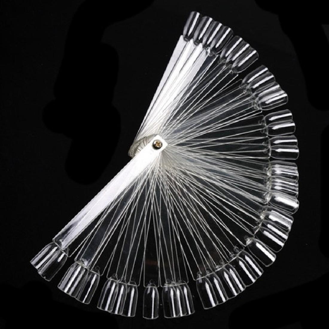 2016 fashion False Clear Nail Art Tips Board Sticks Polish Display Fan Practice Tool 50pcs set