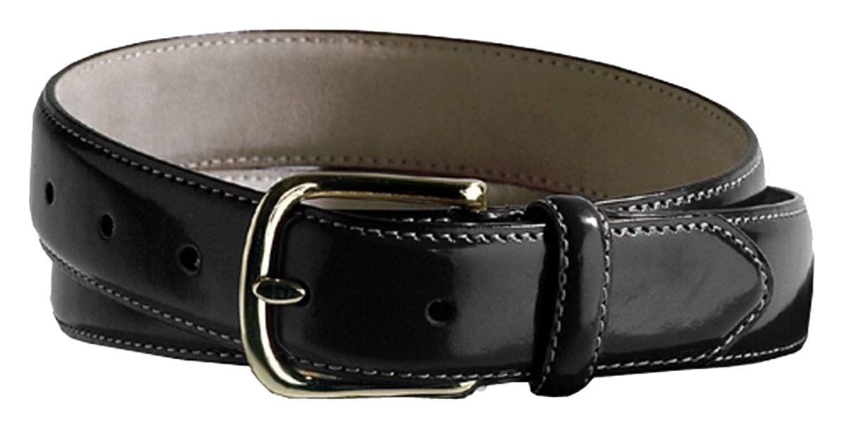 Ed Garments Smooth Leather Dress Belt, Black, 56