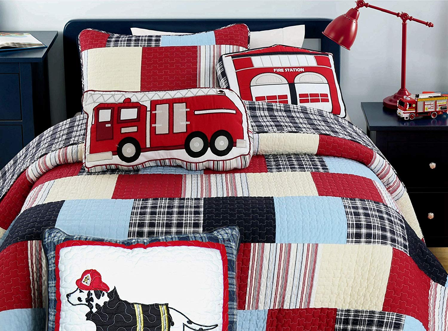 Cozy Line Home Fashions 5-Piece Quilt Bedding Set, Blue Red Cars Truck Fire Station Dog 100% COTTON Bedspread Coverlet Set, Gifts for Kids Boys(Twin- 5pc: 1 quilt + 1 sham + 3 Decorative Pillows)