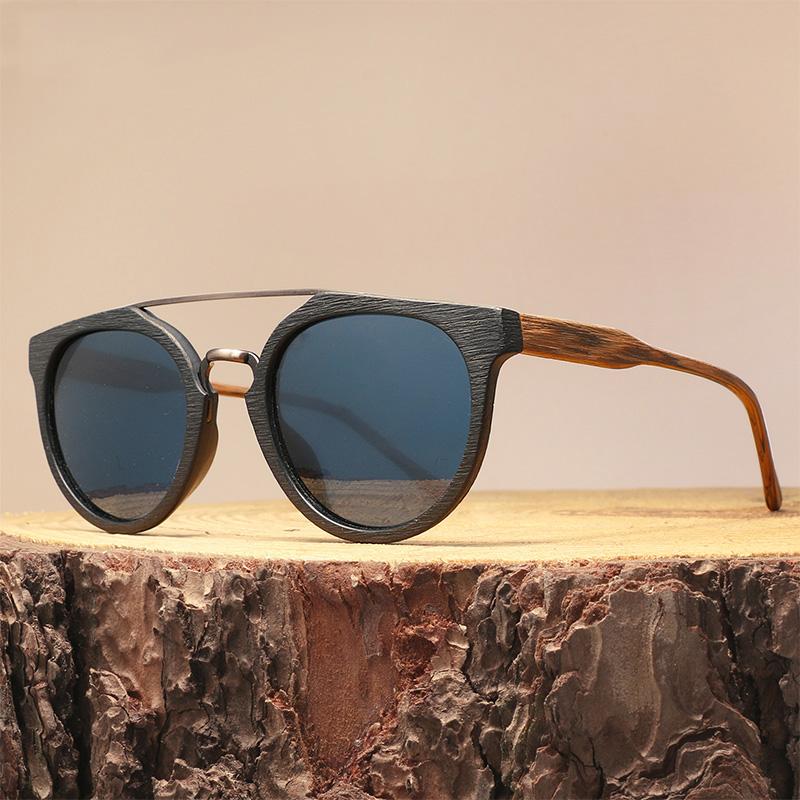 2019 nouveau grain de bois lunettes de soleil hommes femmes acétate cadre lunettes de soleil en métal de mode