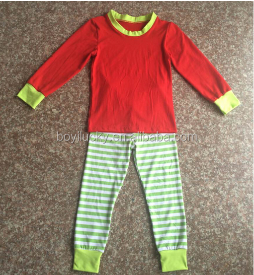 Boutique Baby Girls and Boys Christmas Outfits Wholesale Kids Cotton Red Stripe 2pcs Christmas Holiday Pajamas Sets