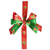 Christmas Printed Pre-made Ribbon Bow/Bows handmade for Gift Box Decoration