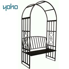 Hot sale outdoor garden wedding metal steel arch with seat