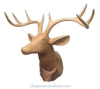 Roost Carved Resin Wall Mounted Deer Head Home Decor