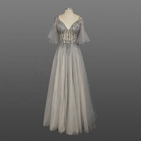 New fashion Sheer gray Real Photo Evening Dress sexy sequins Beading Half sleeve ladies evening dress