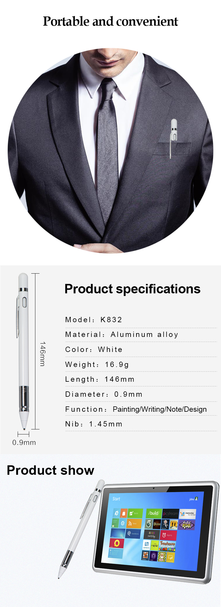 High-end Active Capacitive USB Rechargeable Stylus Pen 1.45mm Fine Point Copper Tip Touch Screen Stylus Metal APPLE Pencil