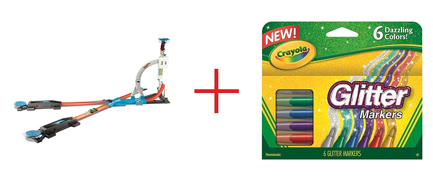 Hot Wheels Track Builder System Stunt Kit - 24 Pieces and Crayola 6-Count Glitter Markers - Bundle