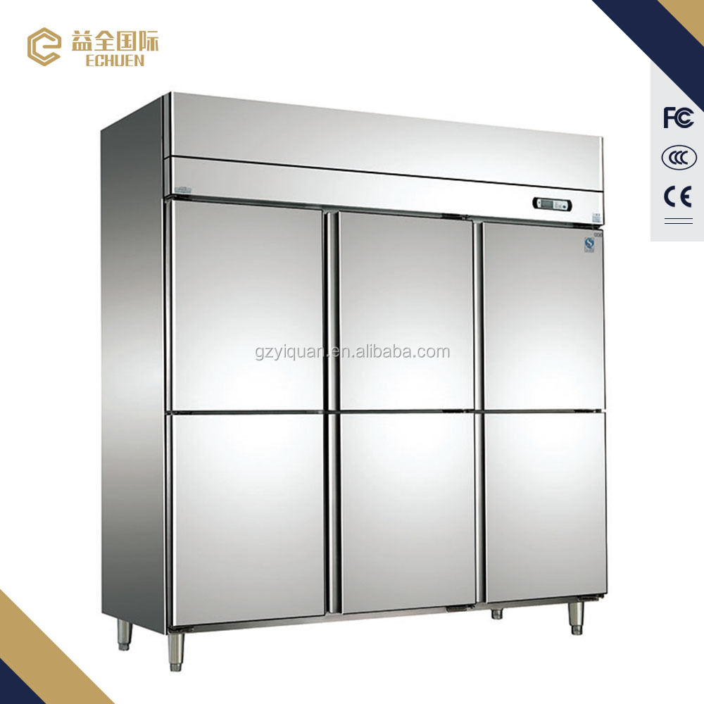 D1.6L6 commercial carrier chiller half freezer half refrigerator 6 door commercial refrigerator