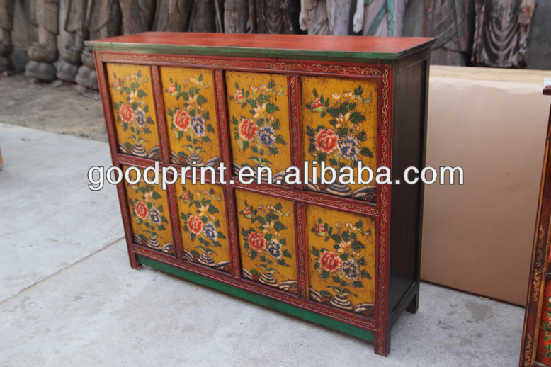 Reproduction Antique Furniture Hand Painted Tibetan Cabinet   Buy Tibetan  Shrine Cabinet,Hand Painted Storage Cabinet,Antique Furniture Bar Cabinet  Product ...