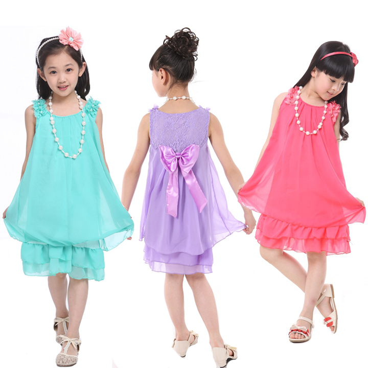 Get Quotations · Sleeveless Chiffon dress for Baby girl Lace dresses with  Bow Gown dress +Necklace Baby clothes def4201af
