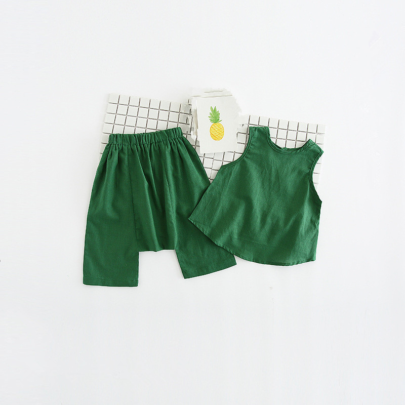 Bulk Price Summer Kids Clothing Set Fashion Girls Sleeveless Green T-shirt and Shorts Pants Set