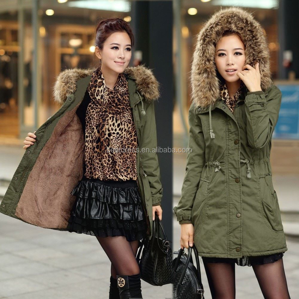 New Fashion 2017 Women's Military Great Rabbit Fur Coat With Fox Fur Collar