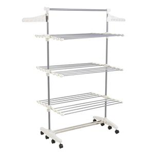 3 Tiers folding Portable clothes drying rack with wheels clothes hanger rack