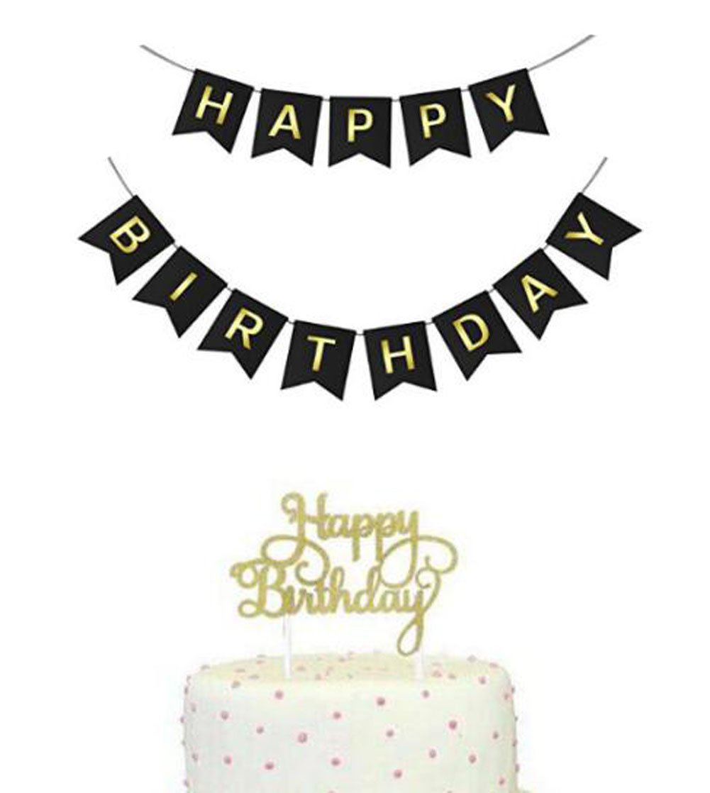 Black And Gold Happy Birthday Bunting Banner With Cake Topper 30th