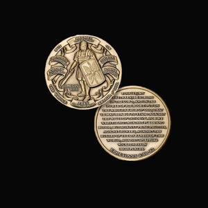 custom antique gold cheap Armor challenge coin