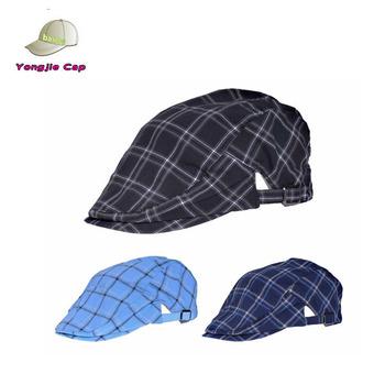 1cdfdc10 new summer 100% cotton plaid newsboy ivy cabbie duckbill golf hat cap