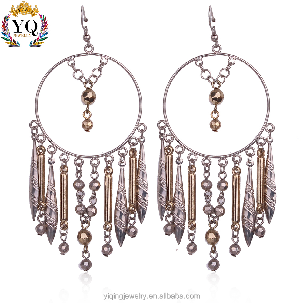 EYQ-00210 fashion fancy design charming elegant big hoop chandelier earrings silver plated