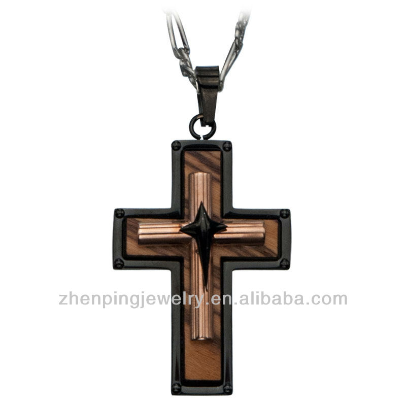 Stainless Steel Black IP Base and Olive Wood Small Rose Gold Top Cross Polished Pendant