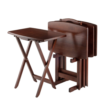 4 Set One Stand Foldable Wooden Tv Tray Table Walnut Side Table For
