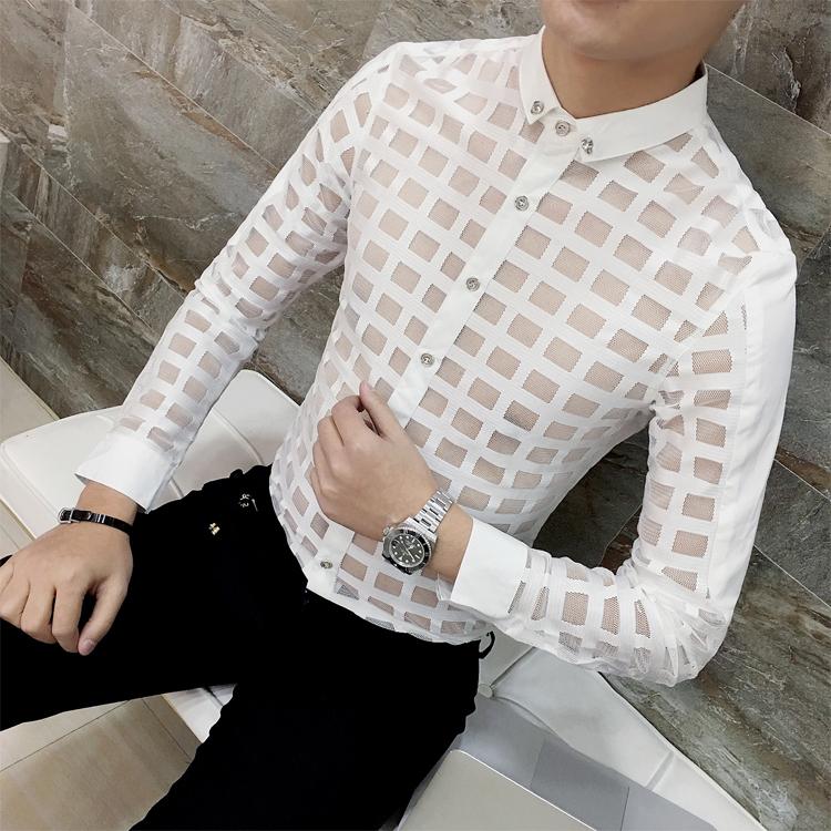 2019 2018 Mens See Through Shirts Asian Fashion Mens Transparent ... 1811e90231f1d