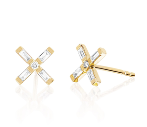 New Arrival Gold Plated 925 Sterling Silver X Stud Earring