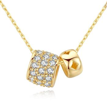 Fashion 18k gold cubic zirconia double ring necklace women
