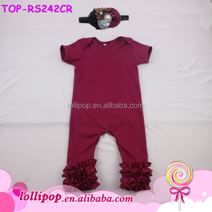 e7e6f8c361a7 Wholesale Solid Baby Girl Romper blank maroon Baby jumpsuit firm Ruffle  Icing Romper with lap shoulder
