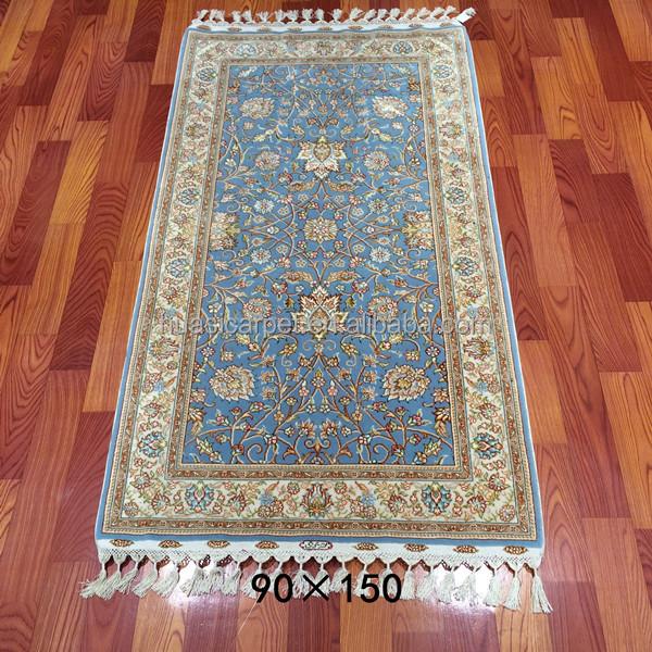 90x150 cm azul tejidas a mano india hecha a mano de On alfombras de seda india
