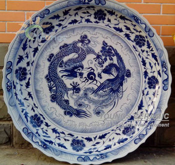 3 Feet Big China Hand Painted Dragon Blue and White Porcelain Plates For Hotel /Government & 3 Feet Big China Hand Painted Dragon Blue And White Porcelain Plates ...