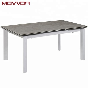 Hot Modern Fashion Design Ceramic Top Metal Painted Legs Extension Long Dining Table