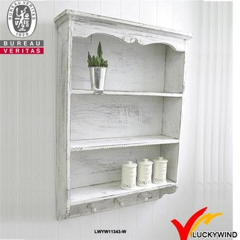 White Antique Distressed Wooden Bedroom Wall Shelf With Hooks