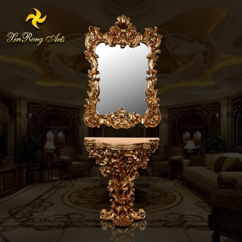 Antique resin console table with mirror luxury living room for Antique decoration pieces
