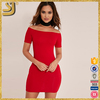 Grace lady short sleeve red formal women evening dress