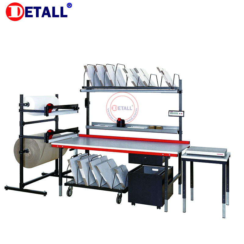 Detall-big packaging bag packing table station added with bubble bag wrap cutter machine
