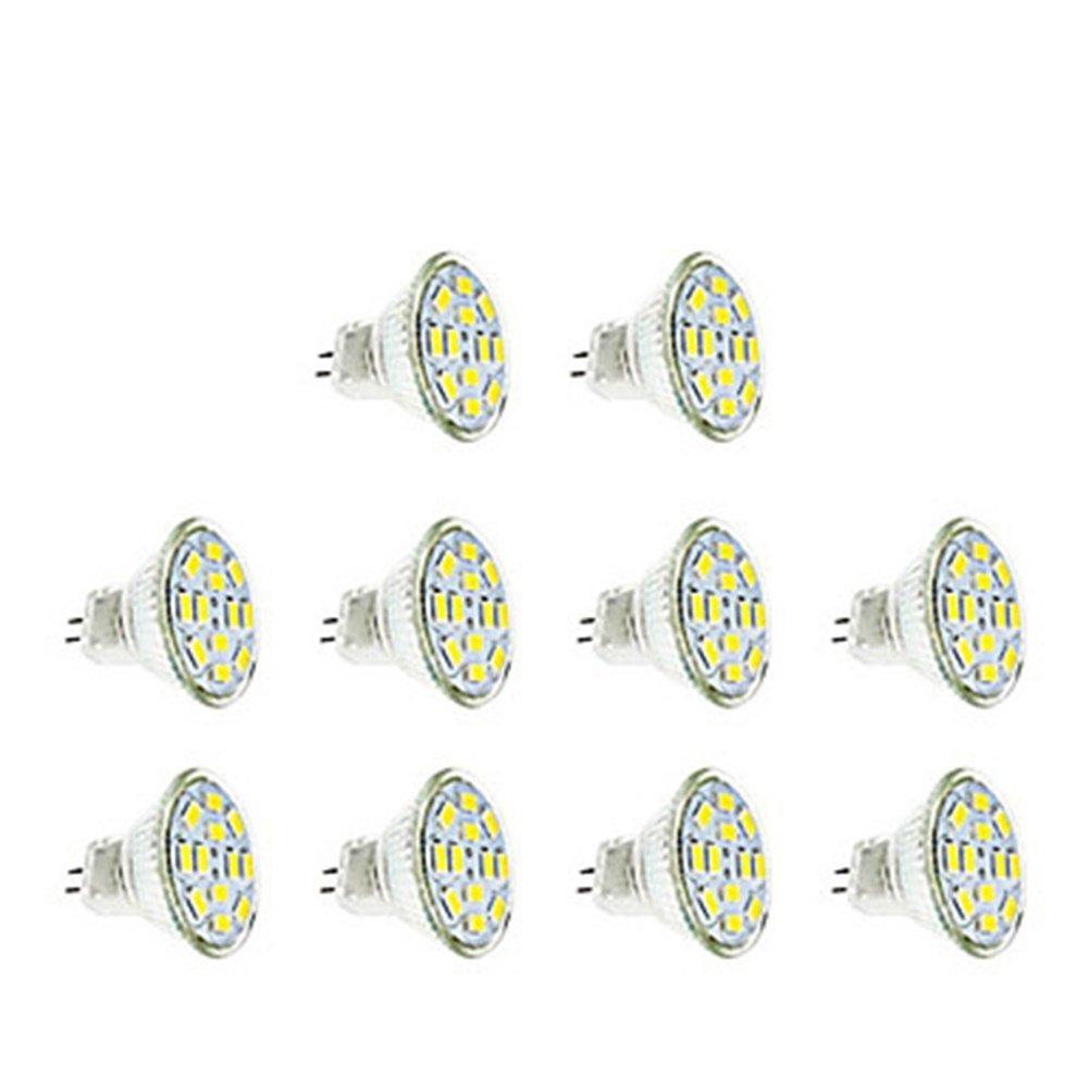 Dig Dog Bone LED Light Bulbs MR11 GU4 LED 3W 12XSMD5730 2800-3200K/6000-6500K Warm White/Cool White (AC 12-24V) 10pcs (Color : Warm white)