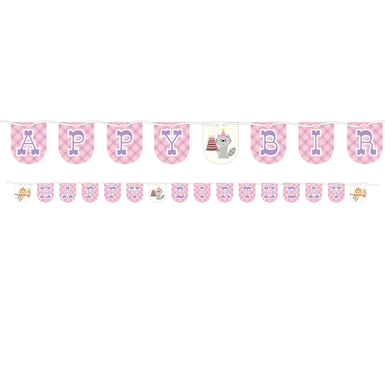Get Quotations Happi Woodland Happy Birthday Banner For Baby Girl