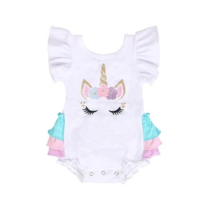 wholesale boutique unicorn plush baby clothes romper baby clothes newborn girl