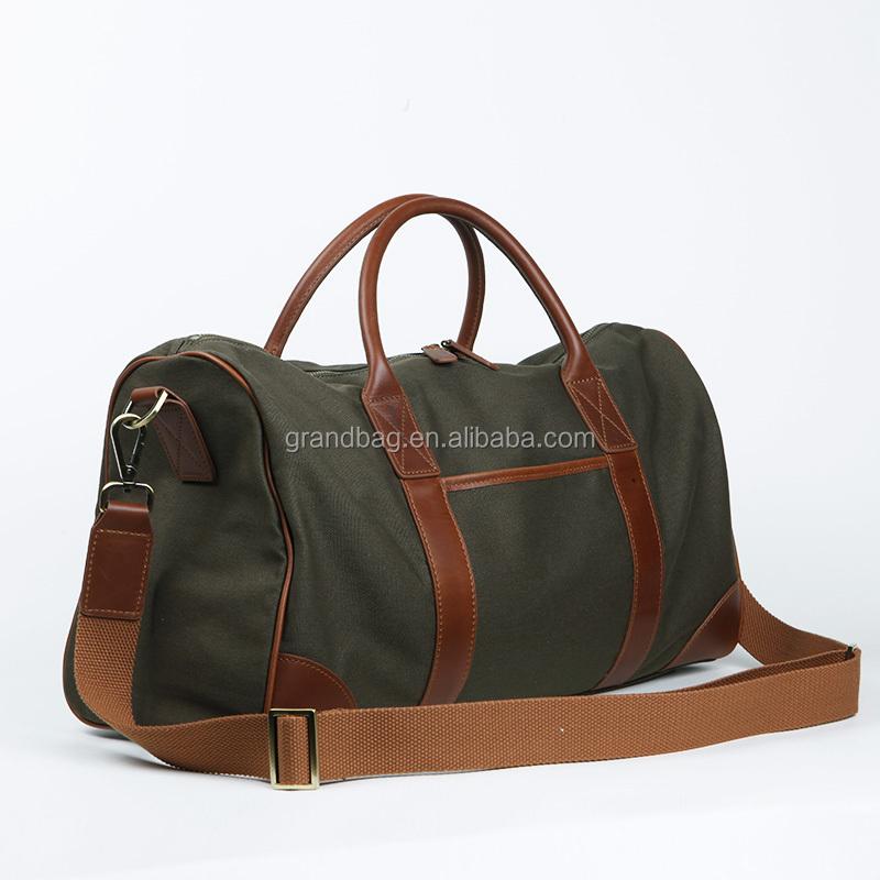 4a72508737 Vintage en cuir véritable toile polochon sac de sport sac week-end gym sac  de