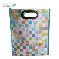 custom logo glossy lamination non woven bags with die cut plastic handle, promotional cheap nonwoven handbags