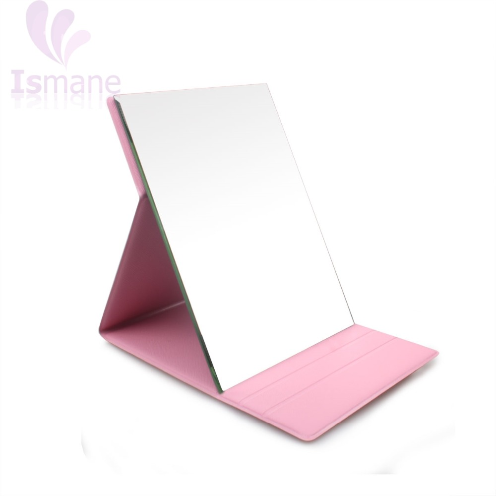 New design folding square PU leather best lighted travel makeup mirror