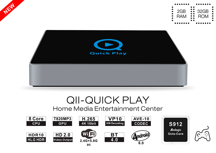 Quick Play Qii Amlogic S912 Custom Firmware Android Tv Box With 2g Ram 16g  Emmc - Buy Quick Play Qii Android Tv Box,Quick Play Qii,Custom Firmware